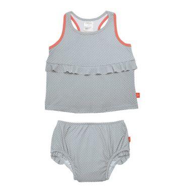 Lassig - Kostium do Pływania Dwuczęściowy z Wkładką Chłonną Polka Dots Grey UV 50+ 12m