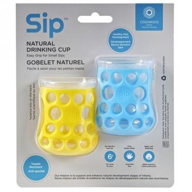 CogniKids - Natural Drinking Cup 2 Sensoryczne Kubeczki do Nauki Picia dla Niemowląt Sky Blue Sunshine