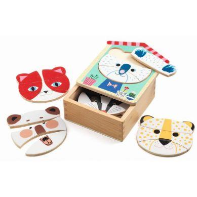 Djeco - Drewniane Puzzle Koty