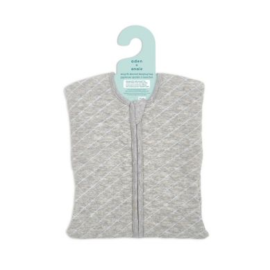 aden + anais - Śpiworek Muślinowy Snug Fit Sleeved Heather Grey/Blue 6-9m