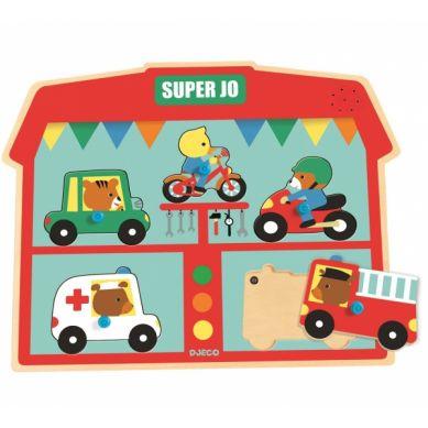 Djeco - Drewniane Puzzle z Dźwiękiem Super JO