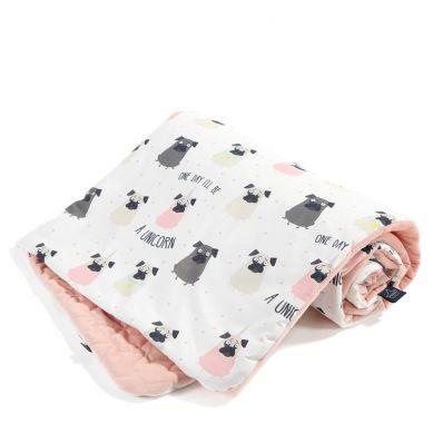 La Millou - Kocyk Narzutka Przedszkolaka Slim Doggy Unicorn Powder Pink