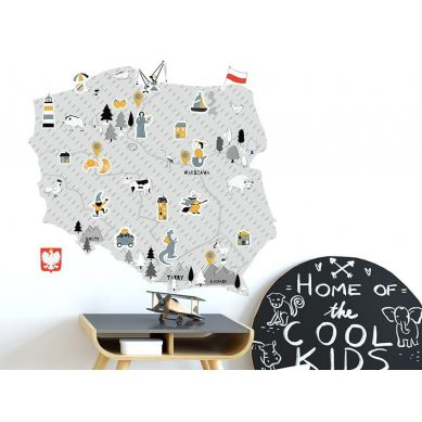 Pastelowelove - Naklejka na Ścianę Mapa Polski Szara S 53x50 cm
