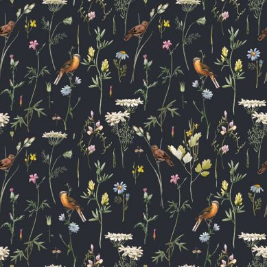 Dekornik - Tapeta Meadow With Birds Black