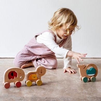 Petit Collage - Drewniana Zabawka Na Kółkach Lew 12m+