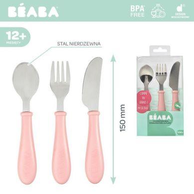 Beaba - Sztućce ze Stali Nierdzewnej Old Pink 12m+