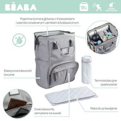 Beaba - Torba Plecak dla Mamy Wellington Heather Grey