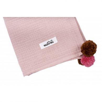 Malomi Kids - Otulacz Muślinowy Pompony Dusty Pink