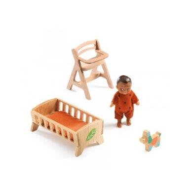 Djeco - Lalka Bobas z Mebelkami