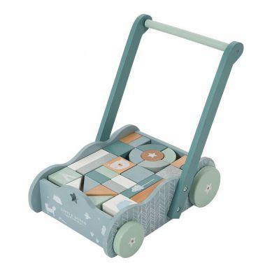 Little Dutch - Wózek z Klockami Błękitny