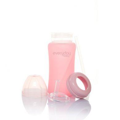 Everyday Baby - Szklany Bidon ze Słomką 240 ml Różowy