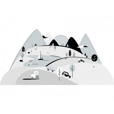 Pastelowelove - Naklejka na Ścianę Góry Szare L 180x90 cm