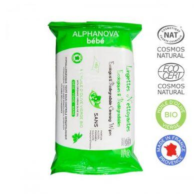 Alphanova Bebe - Ekologiczne Chusteczki Biodegradowalne z Oliwą 60 szt.