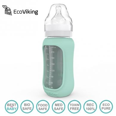 Eco Viking Antykolkowa Butelka Szklana Szeroka dla Niemowląt 240 ml Mint
