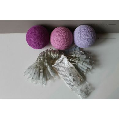 Cottonove Love - Kabel do lampek z bawełnianych kul 35