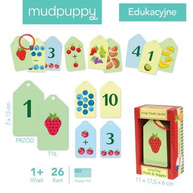 Mudpuppy - Karty do Nauki Cyferek i Liczenia Fiszki Owoce i Warzywa