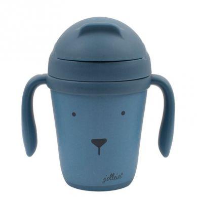 Jollein - Eko Kubek do Nauki Picia ze Składanym Ustnikiem Animal Club Steel Blue 300ml