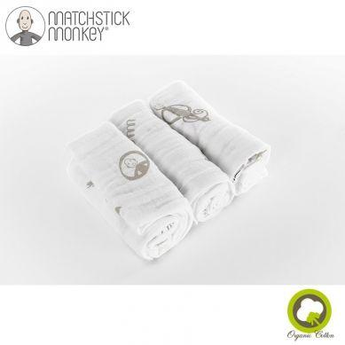 Matchstick Monkey - Organic Cotton Muslin Grey Pieluszki Muślinowe BIO 3 szt