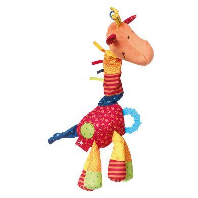 Sigikid - Przytulanka Aktywizująca Żyrafa z Gryzakiem, Grzechotką, Piszczałką, Wibracją i Szeleszczącą Folią 6m+