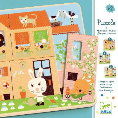 Djeco - Puzzle dla Najmłodszych 3 Plansze Króliczki