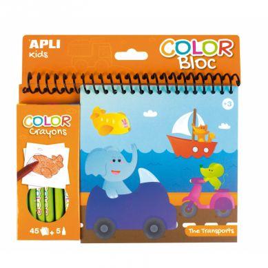 Apli Kids - Kolorowanka z Kredkami Transport