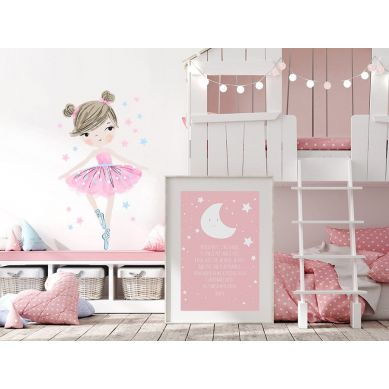 Pastelowelove - Naklejka na Ścianę Baletnica Różowa