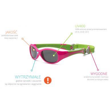 Real Kids - Okularki dla Dzieci Explorer Polarized Cherry Pink and Lime 0+