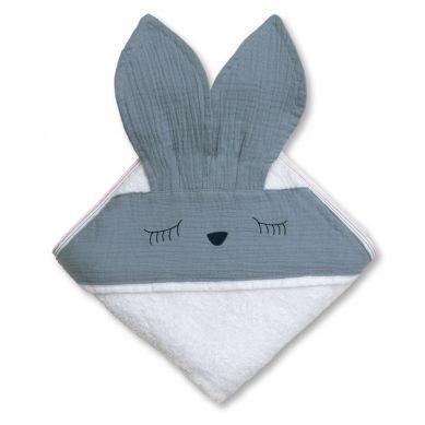 Hi Little One - Ręcznik z Kapturkiem Sleepy Bunny Sky Blue 100x100cm