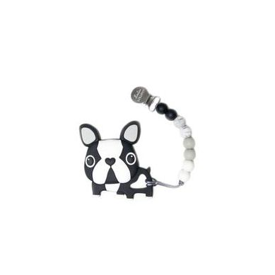 Loulou Lollipop - Gryzak Silikonowy z Zawieszką Boston Terrier Black
