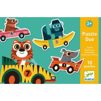 Djeco - Puzzle Duo Wyścigówki 2+