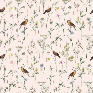 Dekornik - Tapeta Meadow With Birds Pastel
