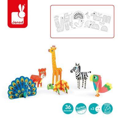 Janod - Zestaw Kreatywny Papierowe Zwierzęta 3D