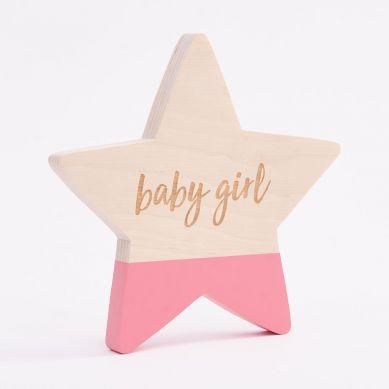 Bim Bla - Drewniana Gwiazdka Baby Girl Różowy