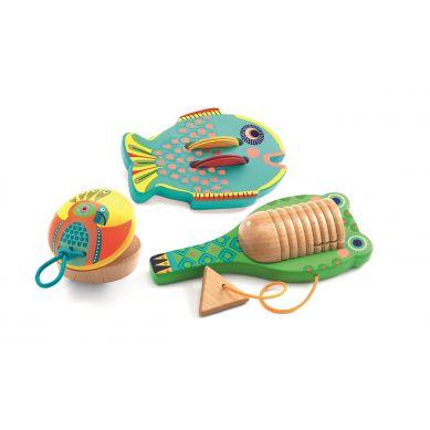Djeco - Zestaw 3 Instrumentów Muzycznych Cymbałki-Kastaniety-Guiro