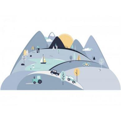 Pastelowelove - Naklejka na Ścianę Góry Niebieskie L 180x90 cm