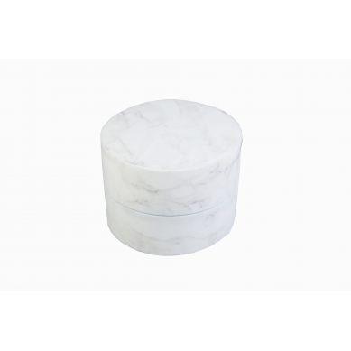 Misioo - Pufa Okrągła Velvet Biały Marmur