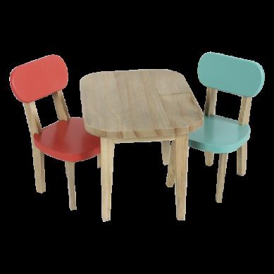 Maileg - Drewniany Stół i Dwa Krzesła Turkus+Koral dla Króliczków