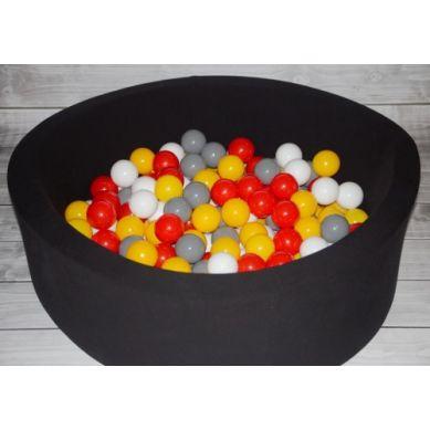 Misioo - Suchy Basen z 200 Piłeczkami 40 cm Czarny + 200 Dodatkowych Piłek