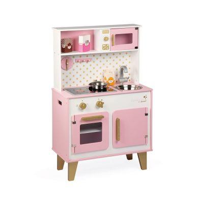 Janod - Duża Kuchnia Drewniana z Dźwiękiem i 6 Akcesoriami Candy Chic