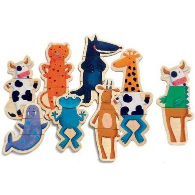 Djeco Drewniane Magnetyczne Puzzle Zwierzęta