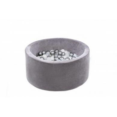 Misioo - Suchy Basen Velvet z 200 Piłeczkami Szary 90X40 cm + 50 Dodatkowych Piłek
