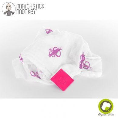 Matchstick Monkey - Organiczny Otulacz z Silikonową Wstawką Gryzakową Swaddle Pink 2szt 120x120cm