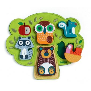 Djeco - Drewniano-Filcowe Puzzle Drzewo