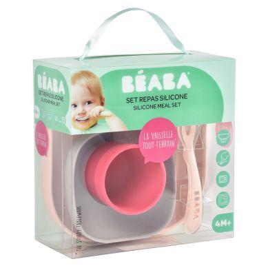 Beaba -Komplet naczyń z silikonu z przyssawką pink