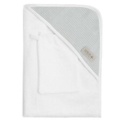 Bamboom - Ręcznik z Kapturkiem + Myjka 100% Bambus Organiczny Biały&Miętowy