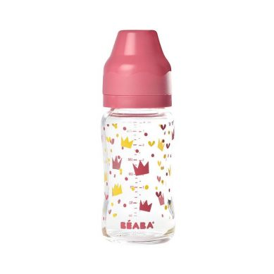 Beaba - Butelka Szklana Szerokootworowa 240 ml Yellow / Pink Crown