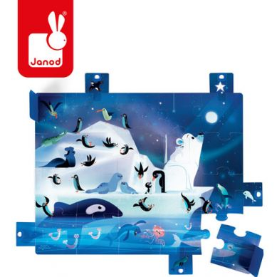 Janod -  Puzzle z Niespodzianką 20 Elementów Pod Gwiazdami 2+