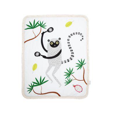 Maki Mon Ami - Dwustronny Ciepły Koc z Frędzlami Lemur Leon L