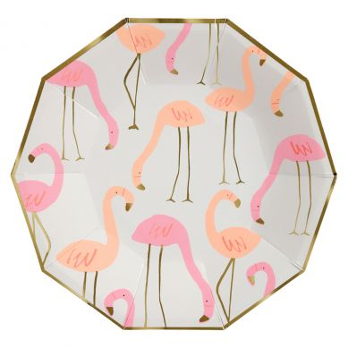 Meri Meri - Zestaw Talerzyków Urodzinowych Flamingo Pattern