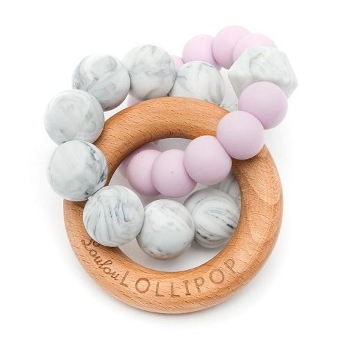 Loulou Lollipop - Gryzak Drewniany z Koralikami Trinity Lilac